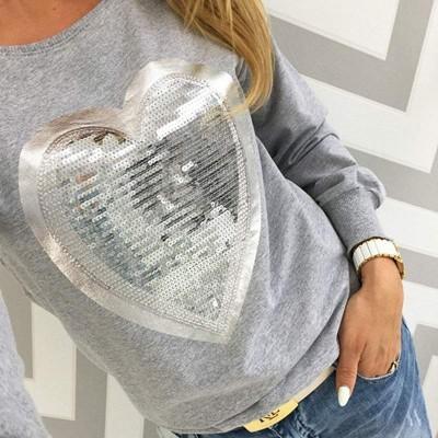 Camisola Cinzenta com Coração Prateado