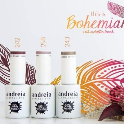Verniz Gel Andreia 242, 243 e 258 (Kit 3 Cores) - Bohemian with metallic touch
