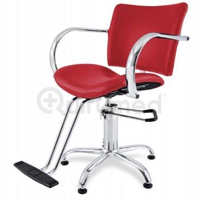 Cadeira hidraulica para cabeleireiro com base em aço cromado e apoio para pés