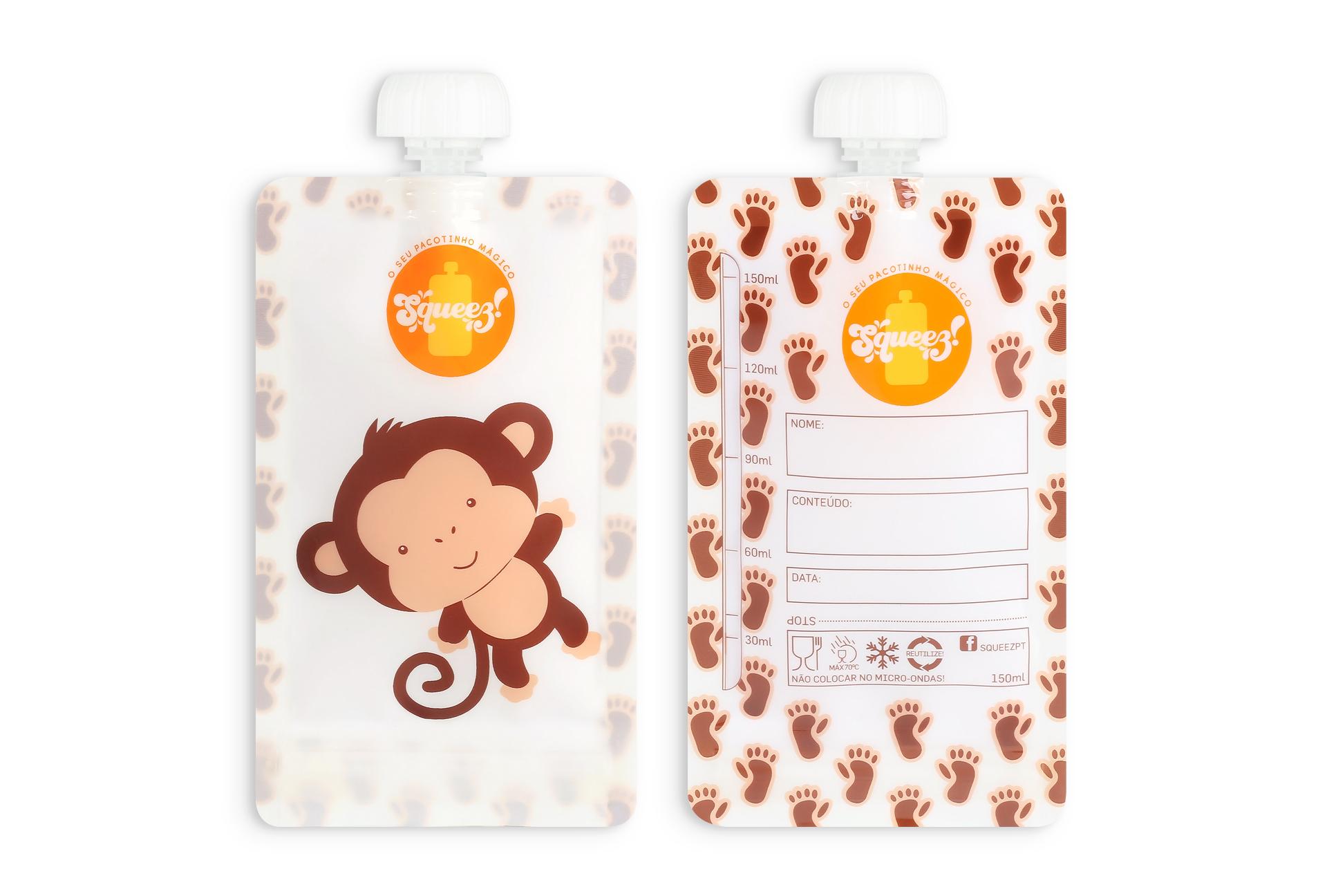 Pack 8 Pacotes reutilizáveis Squeez! 4 Girafas + 4 Macaco ou Elefante 150ml