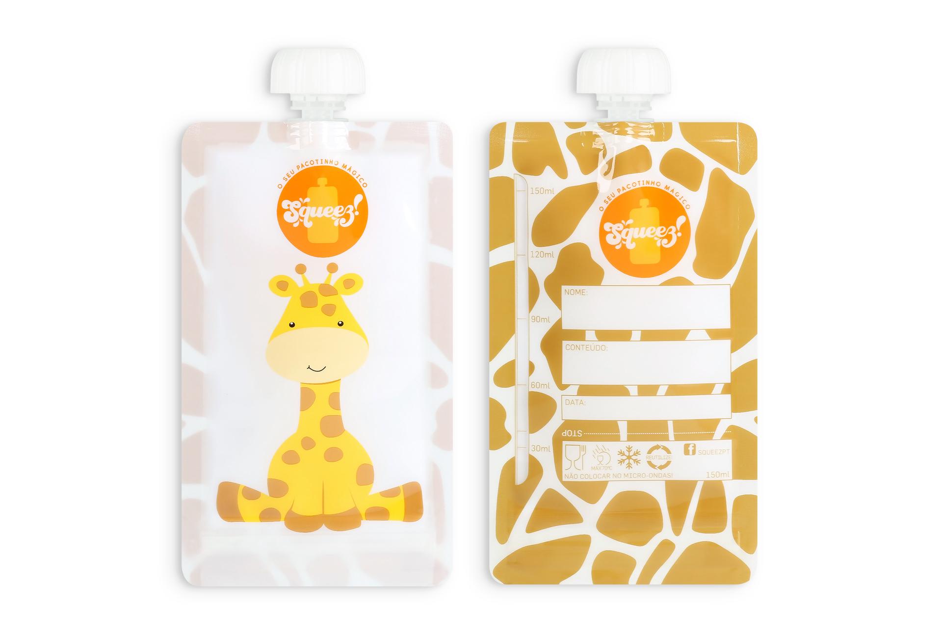 Pacotinho Reutilizável Squeez! AVULSO Girafa 150ML