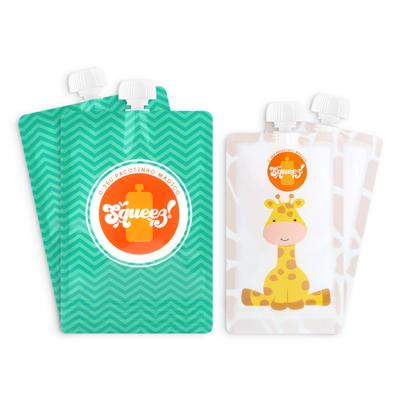Pack 4 Pacotes reutilizáveis Squeez! Personalizavel