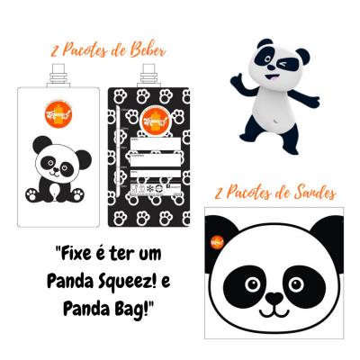 - 15% DESCONTO CARNAVAL Pack 4 Pacotes reutilizáveis Panda 2 Beber + 2 Sandes