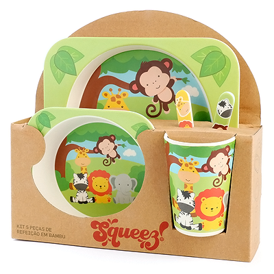 -60% STOCK OFF  🍽Kit Refeição Bambu Squeez! 🥛🥣