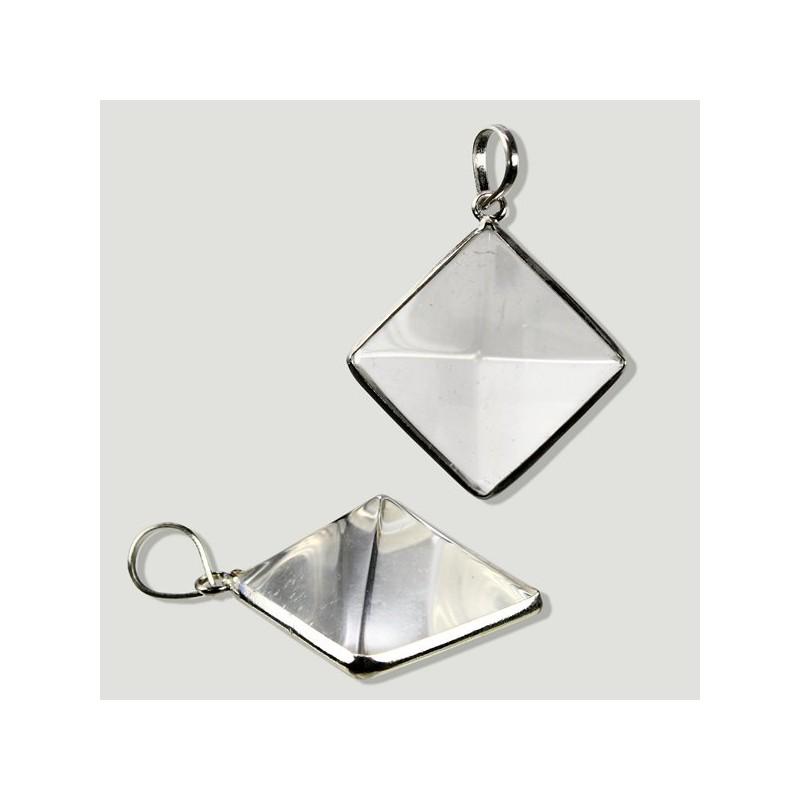 Pendente Pirâmide de Quartzo Cristal e Prata