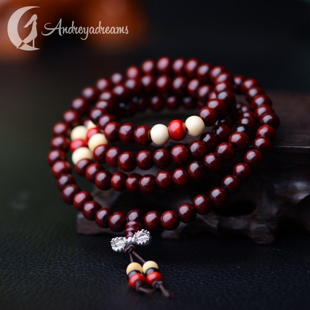 Japamala Vermelha com Contas de Sândalo