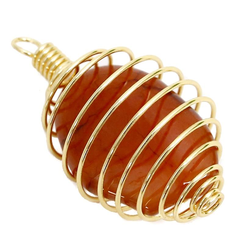 Pendente Espiral Gaiola Dourada