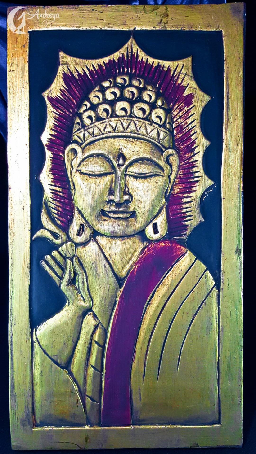 Placa de Madeira com Buda Dourado, Talhada à Mão (Tem Imperfeições)