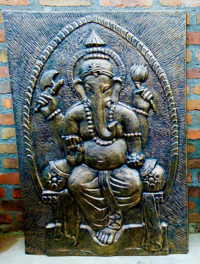Quadro Ganesha Prateado 100x80cm