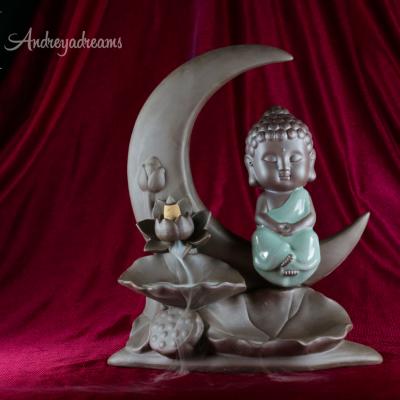 Cascata Fumo Buda com cabelo - Lua 28cm