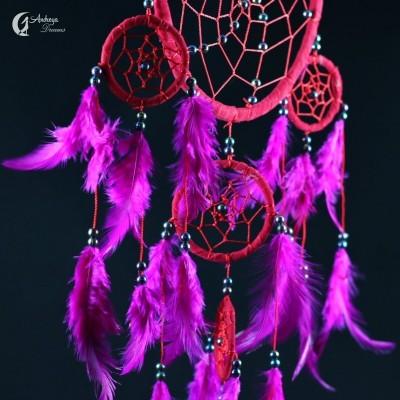 Caça Sonhos Grande Vermelho e Púrpura