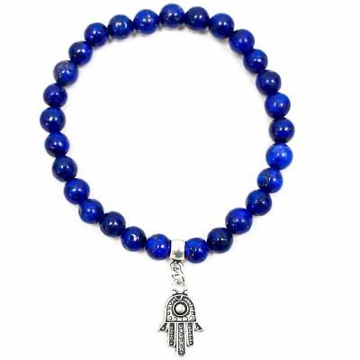 Pulseira Lápis Lazuli com Mão de Fátima
