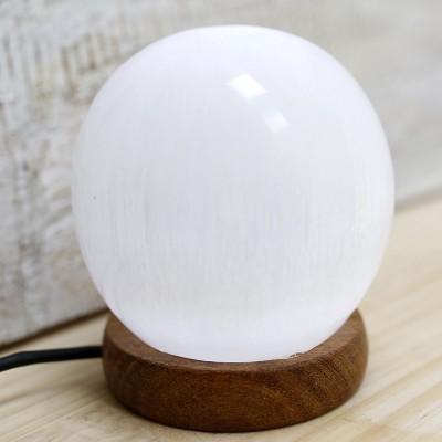 Candeeiro de Selenite em Forma de Bola, USB Luz Branca