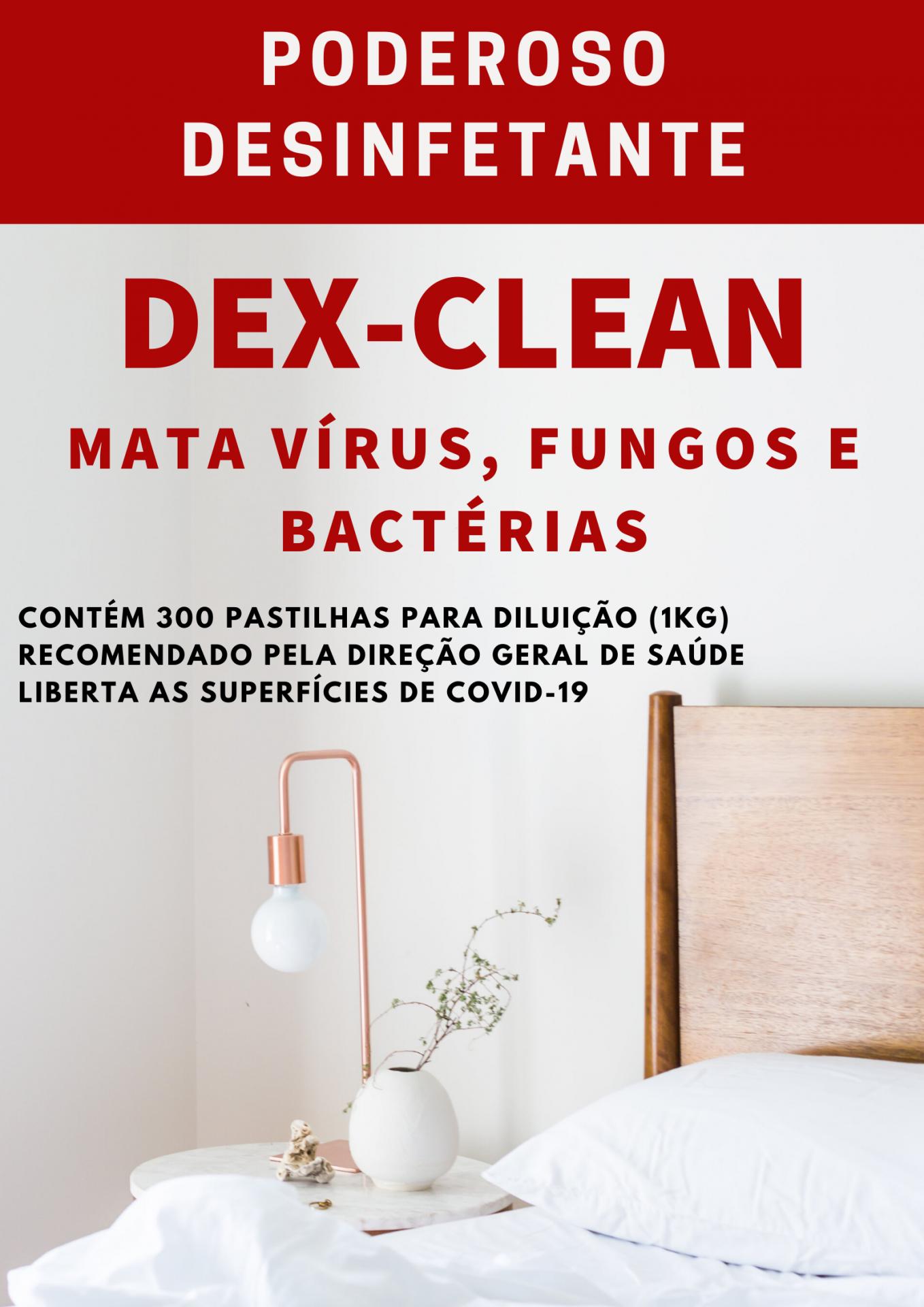 DEX CLEAN Desinfetante de virus (covid19), bactérias, fungos,  recomendado pela DGSaúde. 1 kg = 300 pastilhas