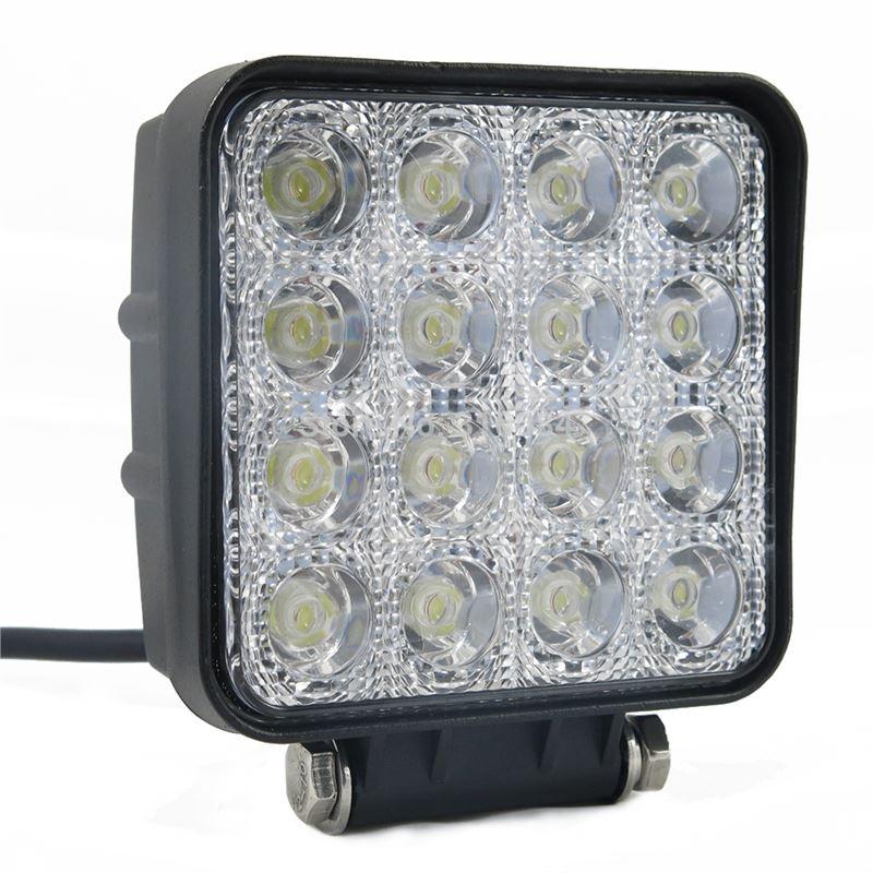 Foco de trabalho com 16 leds, 12-24V, 48w, 4000 lumens, proteção IP67, Medidas: 110x110x67mm LKFOCOT7