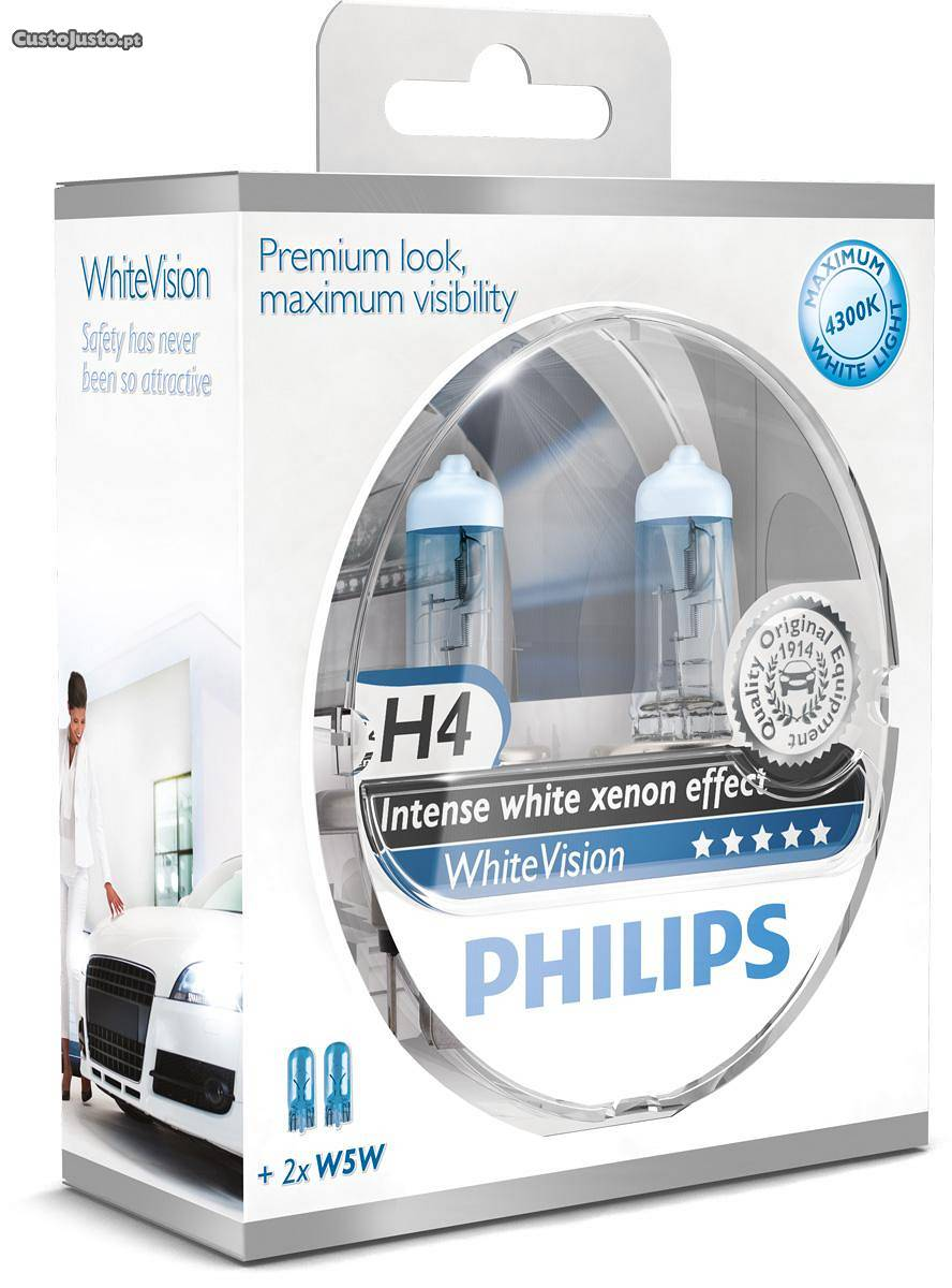 Kit Lampadas PHILIPS H4 WhiteVision
