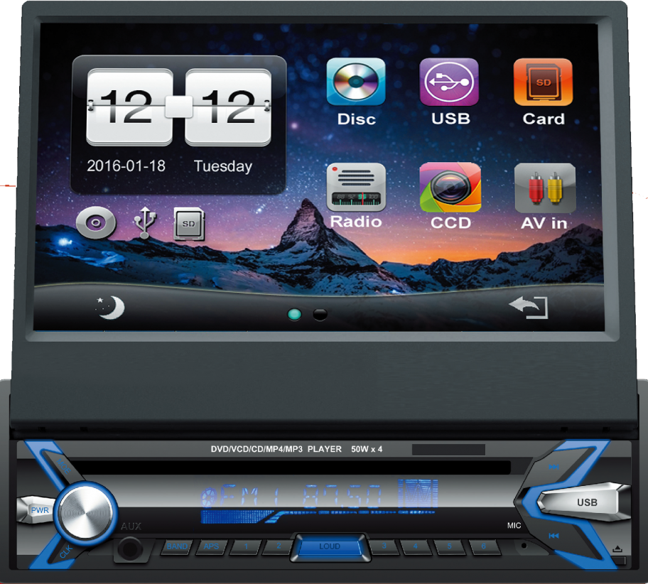Autorrádio Sicur 1 DIN Flip-Out CD DVD Bluetooth GPS SCMA401