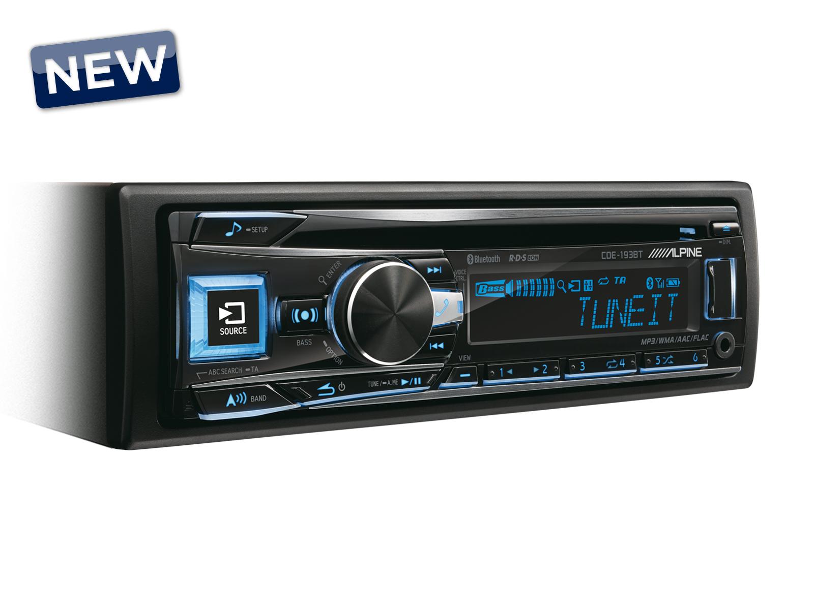 Alpine CDE-193BT  Auto-Radio CD/USB/Controlador de iPhod/iPhone com Bluetooth