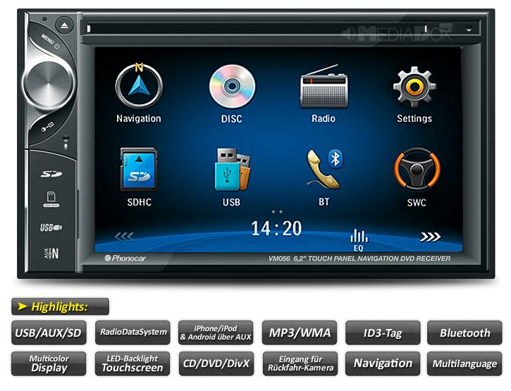 Autorrádio Phonocar Duplo Din CD/DVD USB GPS Bluetooth VM057