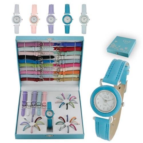 Conjunto Relógio Mulher G&B com 25 correias e 25 aros RGB43395