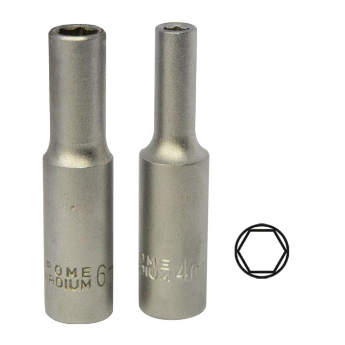 "Chaves Hexagonais 1/4"" de 50mm Longa Cromada (4-10mm)"