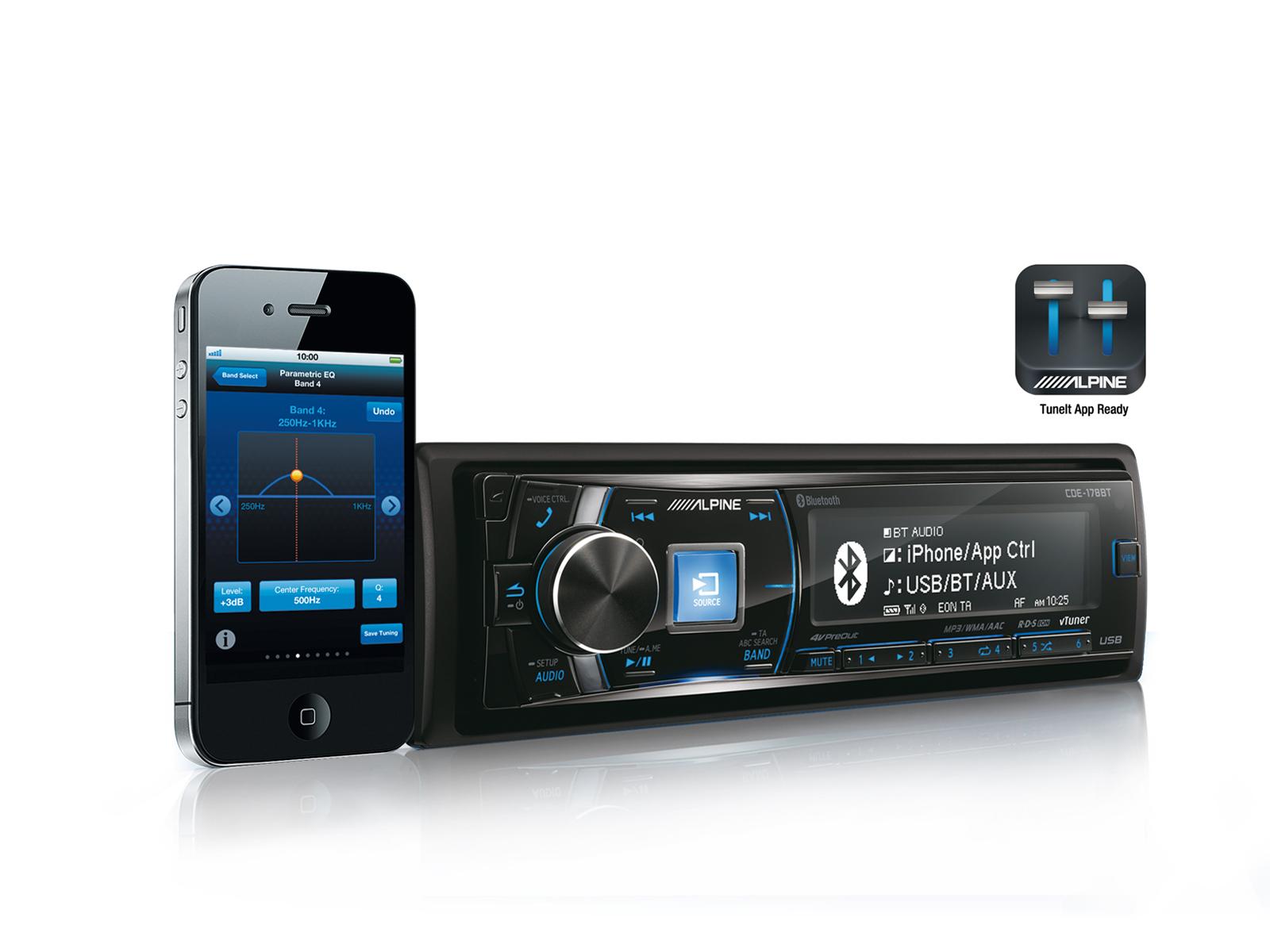 Alpine CDE-178BT Auto-Radio Receptor CD/USB traseiro, controlador de iPod, 4 x 50W, Bluetooth, 3 PreOut 4 Volt