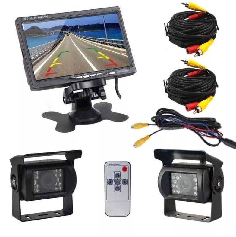 """Kit Monitor de 7"""" + 2 Câmeras + Cabos 12-24V SKUA77594"""