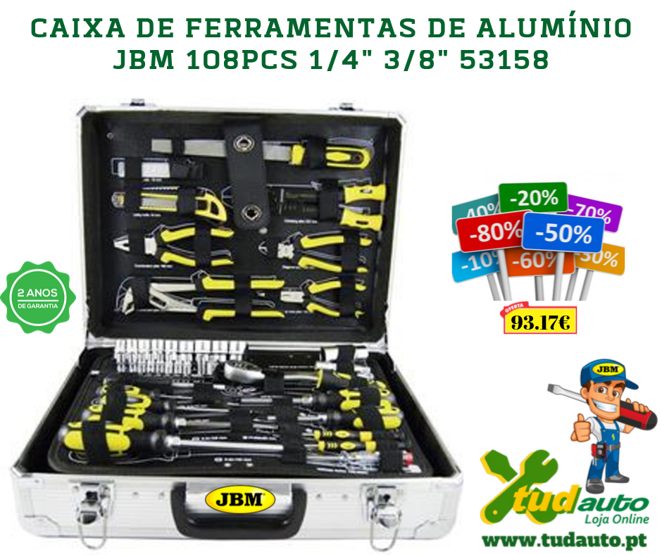 """CAIXA DE FERRAMENTAS DE ALUMÍNIO  JBM 108PCS 1/4"""" 3/8"""" 53158"""