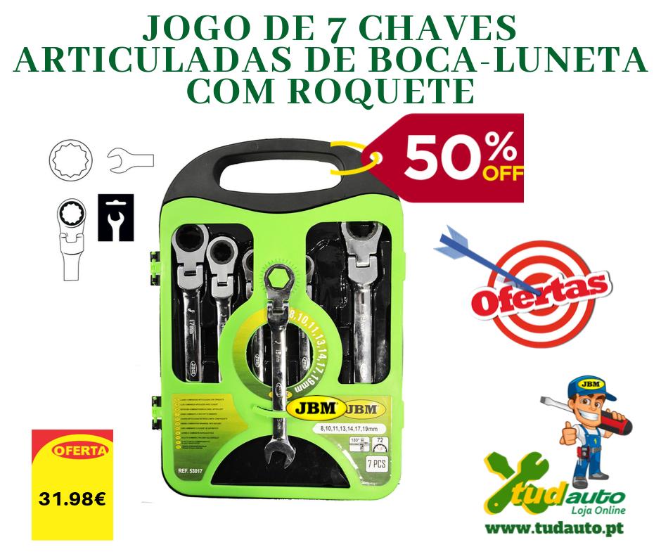 JOGO DE 7 CHAVES ARTICULADAS DE BOCA-LUNETA COM ROQUETE 53017
