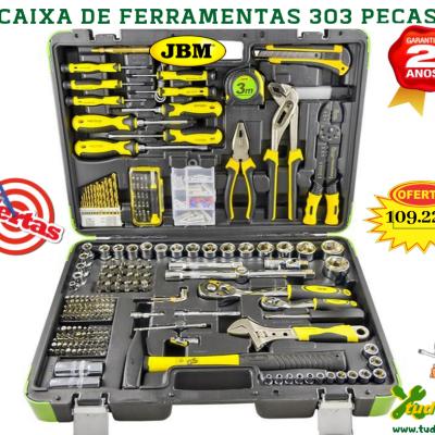 CAIXA DE FERRAMENTAS 303 PEÇAS JBM COM CHAVES HEXAGONAIS 53212
