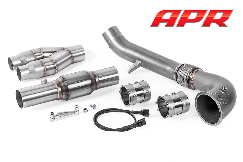 apr cast downpipe exhaust system for the 2.5 tfsi tt rs and rs3