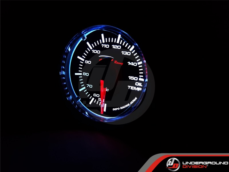 DEPO RACING WS Series 52mm Oil Temperature Gauge (SMOKED LENS)