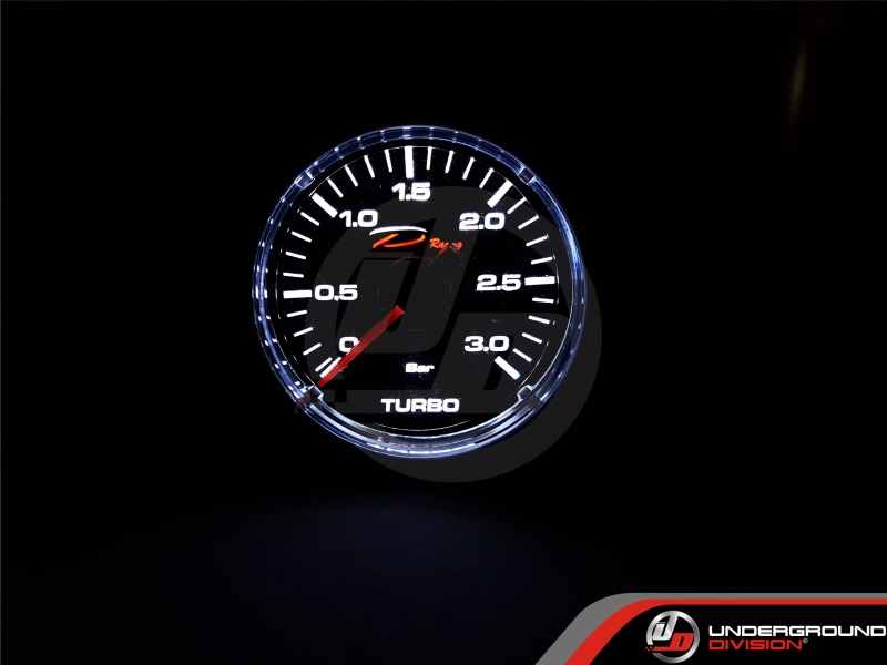 DEPO RACING CSM Series 52mm 3Bar Mechanical Boost Gauge (TRANSPARENT LENS)