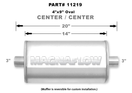 UNIVERSAL MUFFLER MAGNAFLOW OVAL #11219 - 3'' (76MM) (CLEARANCE)