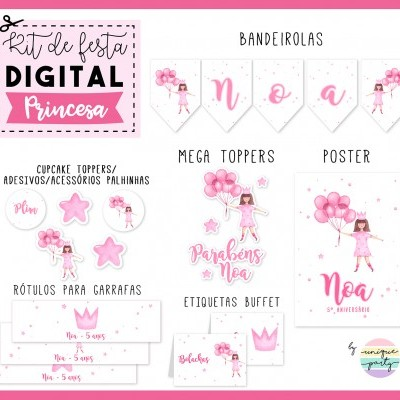 Kit DIGITAL - READY TO PRINT - PRINCESA AGUARELA