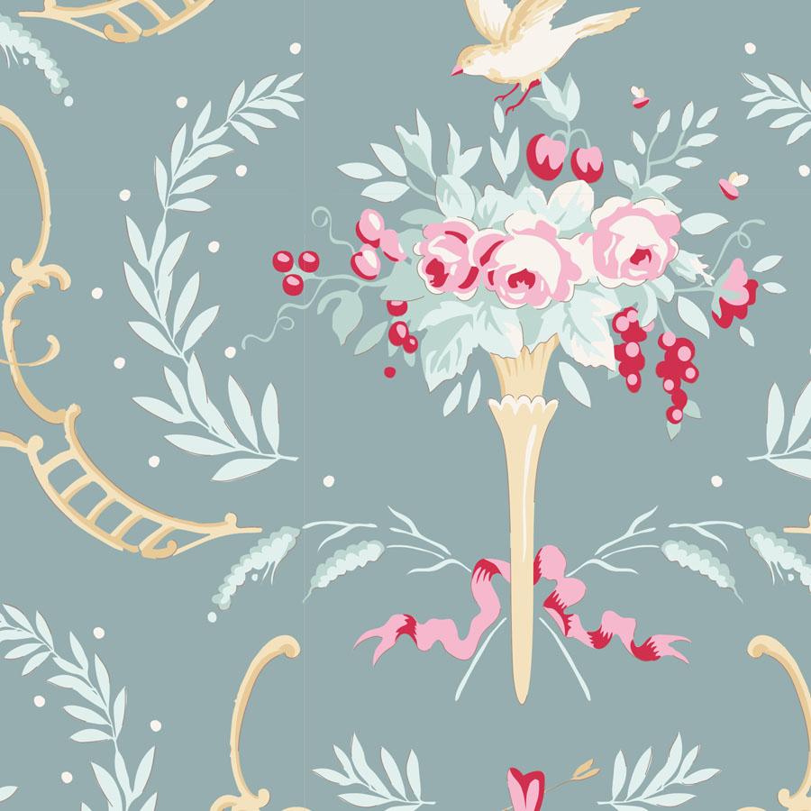 Tilda - Old Rose - Birdsong Teal green