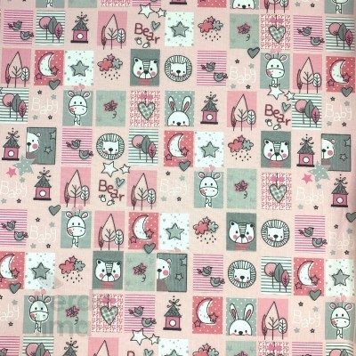 Sweet animals  - Quadrados fundo Rosa