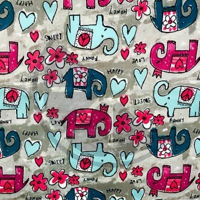 Elefantes turquesa e rosa (plastificado)