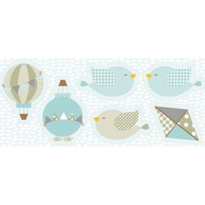 Pillows - Balões, pássaros e papagaio de papel em azul