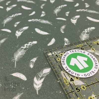 Algodão orgânico - Penas verde