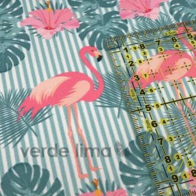 Licra - Flamingos fundo azul