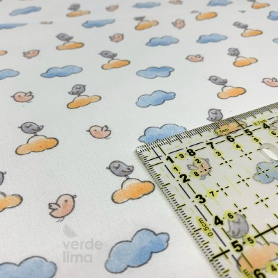 Ursinhos no avião - passarinhos na nuvem amarelo