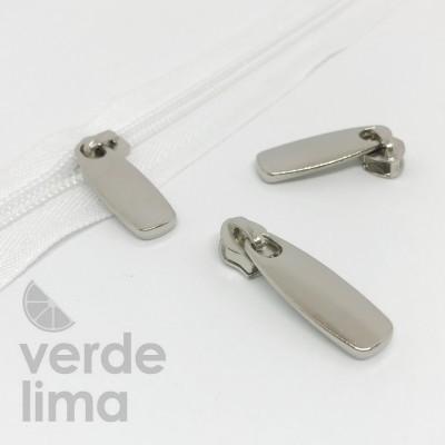 Cursores de fecho zipper malha 5 prateados