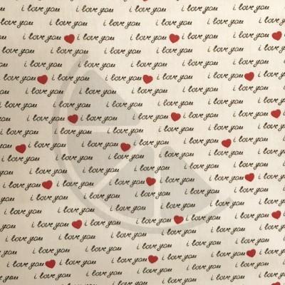 I love You - letras pequenas fundo creme