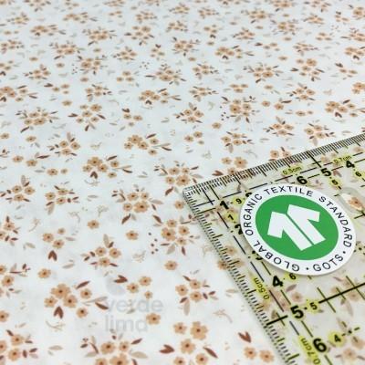 Algodão orgânico - Flores pêssego
