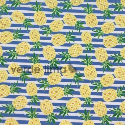 Licra - Ananases com riscas azuis