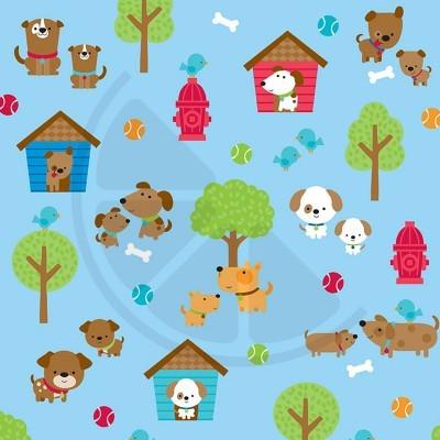 Puppy love - cãezinhos em fundo azul