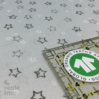 Algodão orgânico - Estrelas cinzento