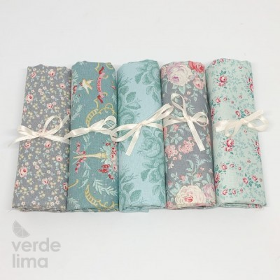 Tilda - Old Rose - Kit de fat quarters teal and green
