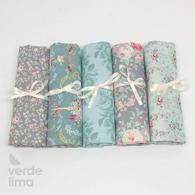 Tilda - Old Rose - Kit de fat quarters teal and green